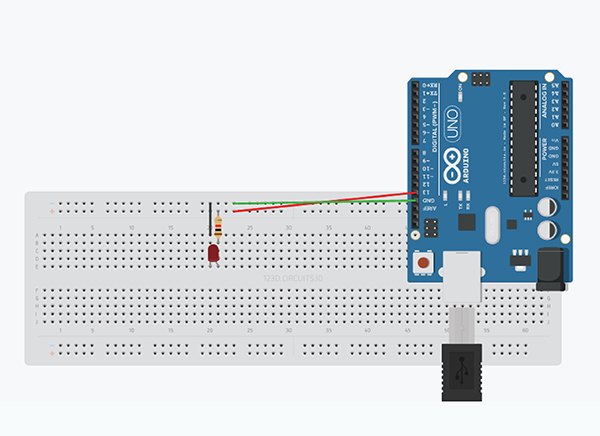 circuit diagram of blinking LED with Arduino UNO