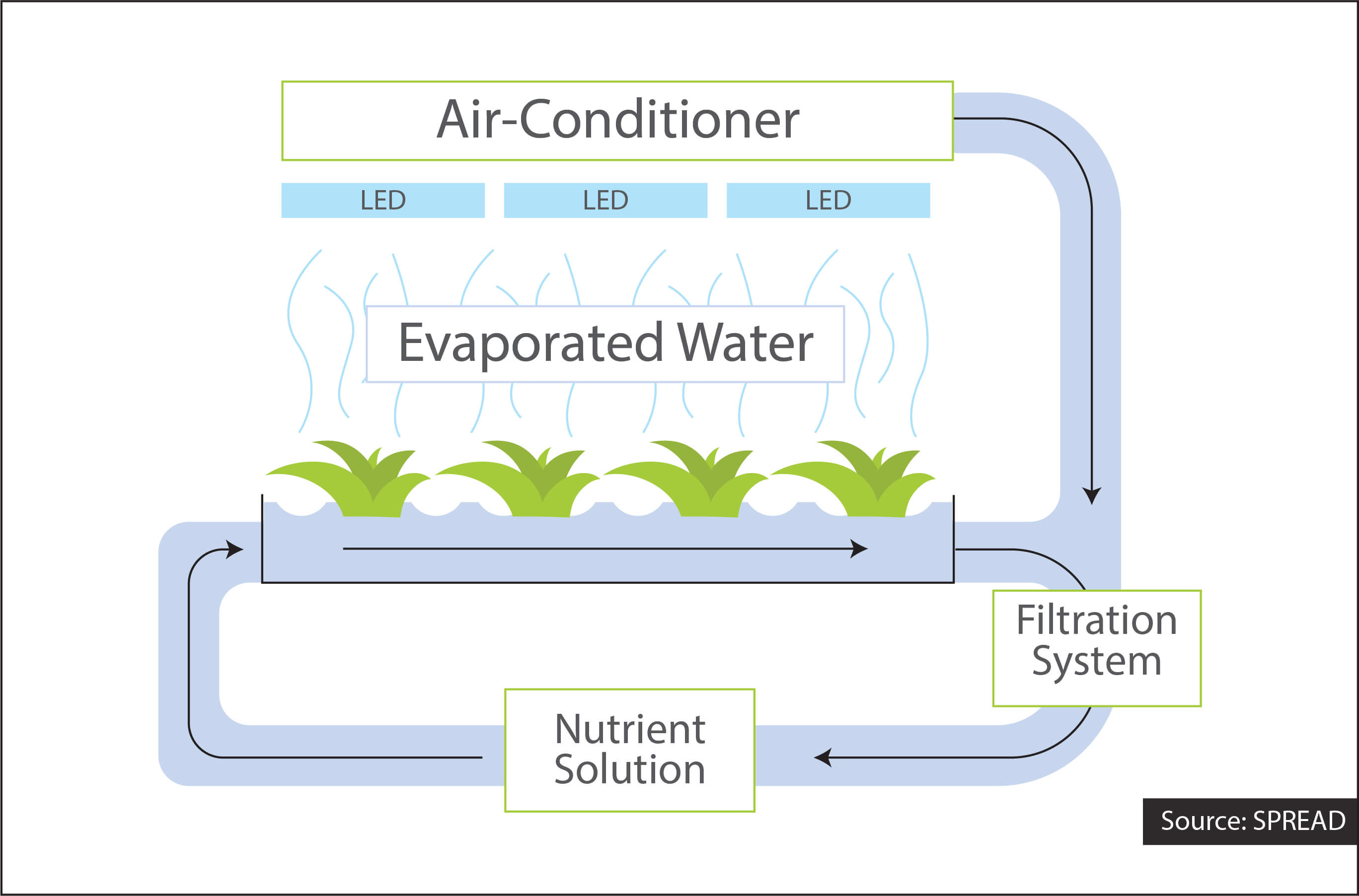 Water recycling in SPREAD vegetable factory