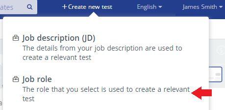 Create test based on job roles