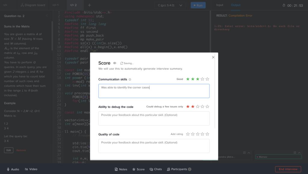Coding Interview - FaceCode - Scoring Rubrik - HackerEarth